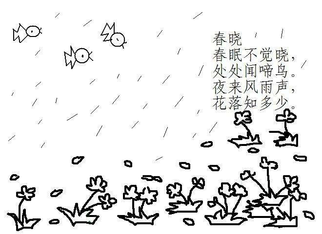 春天来了风景简笔画